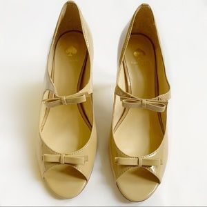 Kate Spade Nude Patent Leather Open Toed Heels